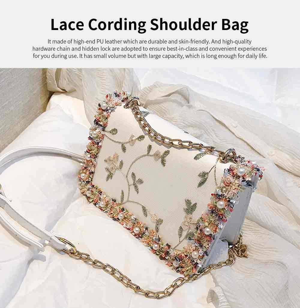 Stylish Luscious Lace Cording Women Shoulder Bag with Adjustable Shoulder Strap, PU Leather Crossbody Satchel Handbag 0