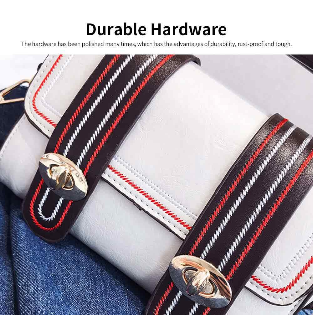 Embroidery Thread Boston Small Bag, Fashion Vintage Minimalist Ladies Shoulder Bag Handbag with Wide Shoulder Strap 2