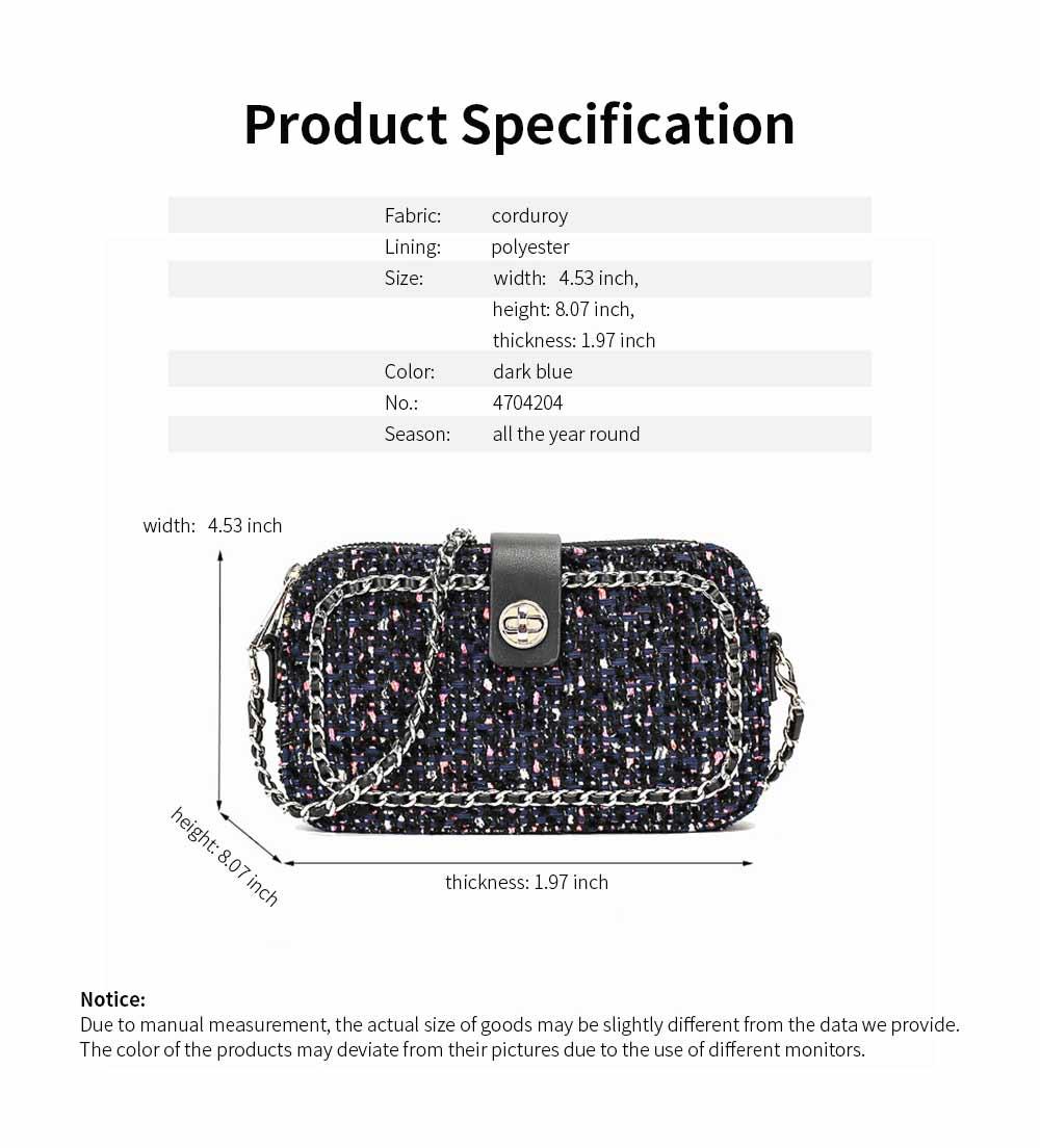 Delicate Paillette Twill Corduroy Mini Quilted Chain Shoulder Bag, Fashion Double-deck Dark Blue Crossbody Handbag 8