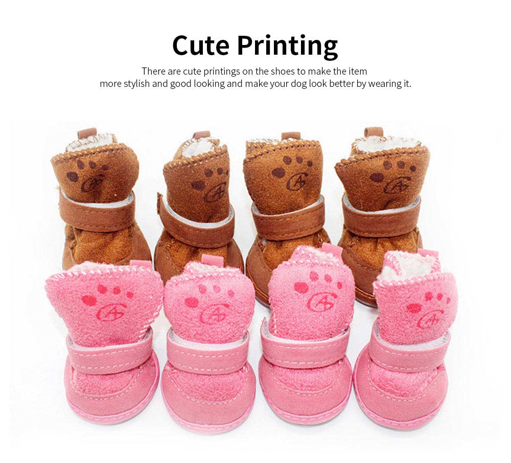Cute Lamp Dress Up Puppy Shoes Apparel Pet Boots, Autumn and Winter Snow Warm Pet Boots with Magic Tape 5