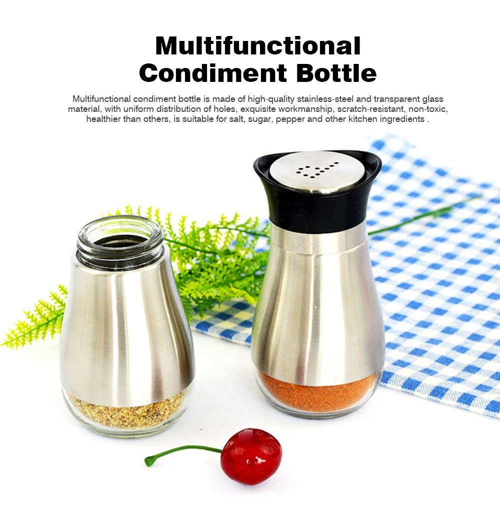 Penguin-shaped Glass Cruet for Placing Salt and Pepper, Stainless-steel Sheathed Bottle with Holes 0