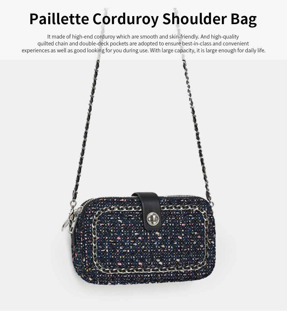 Delicate Paillette Twill Corduroy Mini Quilted Chain Shoulder Bag, Fashion Double-deck Dark Blue Crossbody Handbag 0