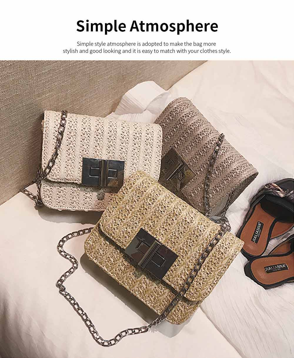 Fashion All-match Straw Weaving Women's Cross Body Shoulder Bag, Small Knit Handbag Satchel Messenger Shopping Purse 12