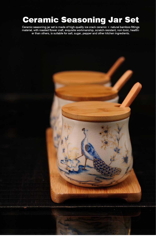 Three-piece Ceramic Seasoning Jar Set, Bamboo and Wood Ceramic Seasoning Bottle Set, with Wood Bracket 0
