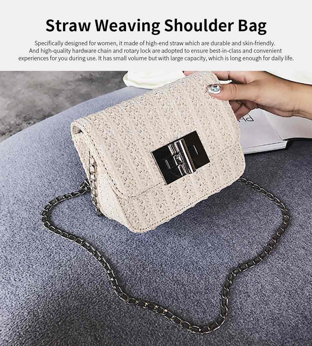 Fashion All-match Straw Weaving Women's Cross Body Shoulder Bag, Small Knit Handbag Satchel Messenger Shopping Purse 7