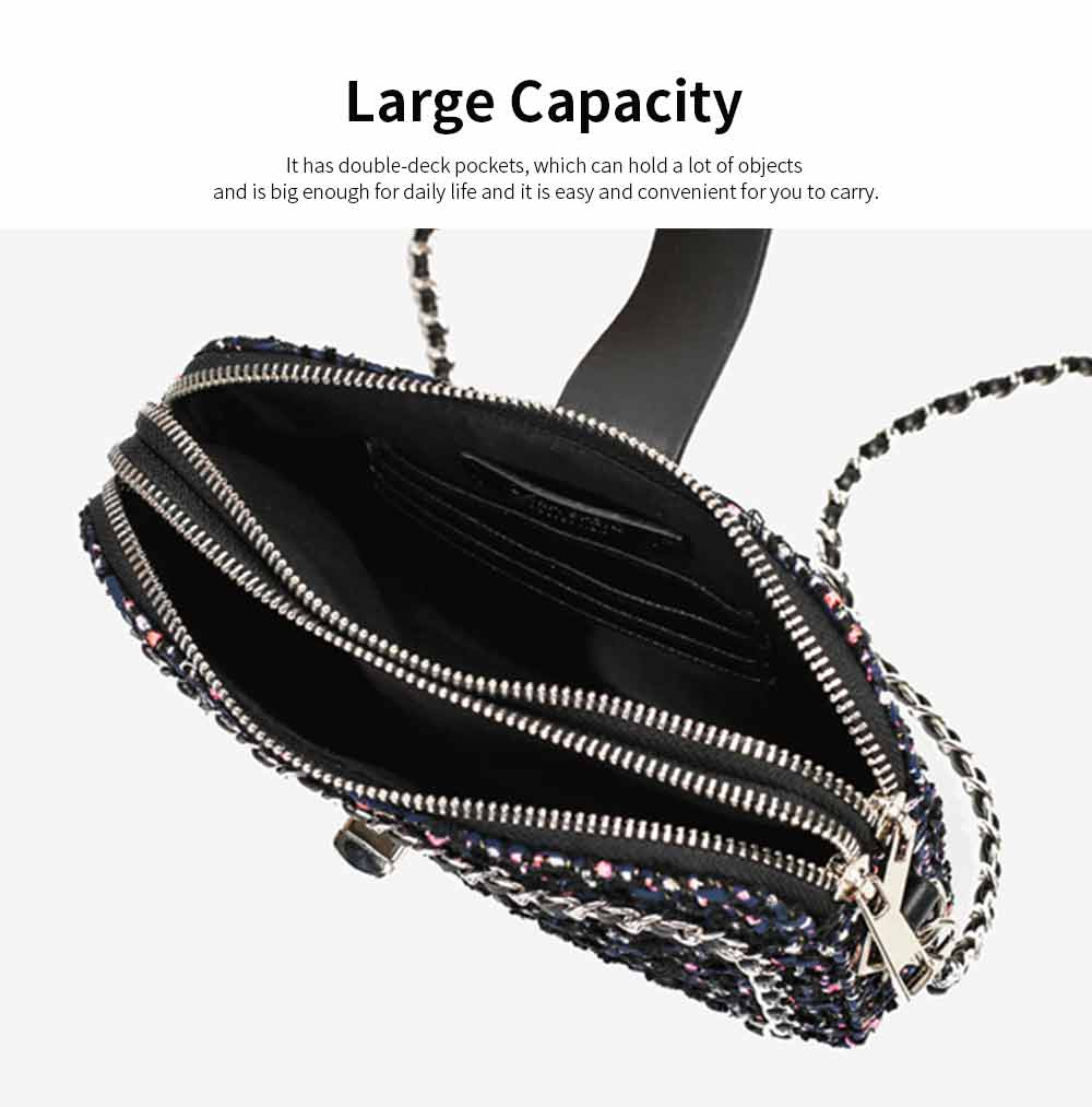 Delicate Paillette Twill Corduroy Mini Quilted Chain Shoulder Bag, Fashion Double-deck Dark Blue Crossbody Handbag 4