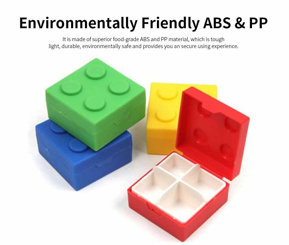 Colorful Building Blocks Pill Case, Mini Accessories Storage Box Cute Tablet Pill Medicine Organizer Container 1