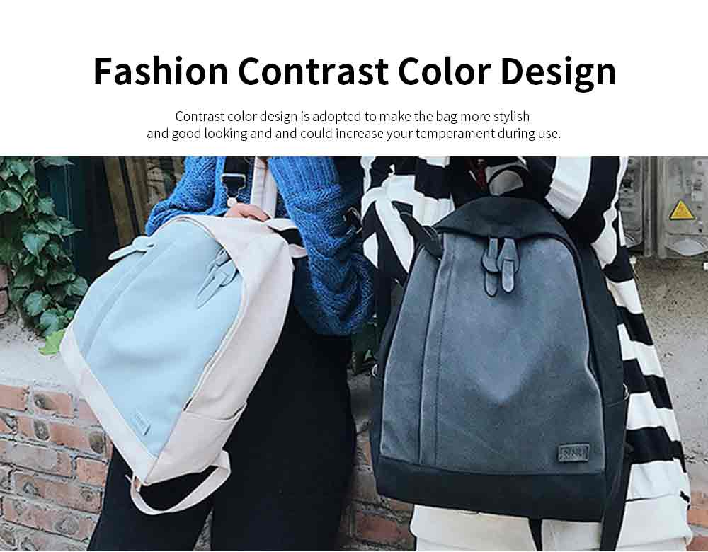 Fashion Contrast Colors Canvas Casual Backpack, Large Capacity Laptop Bag Travelling Backpack with Functional Front Pocket 6