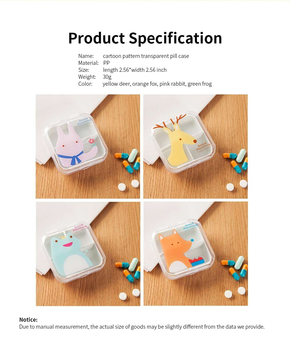 Cartoon Animal Cute Pill Box, Best Travel Pill Container for Daily Use, 4 Grids 6