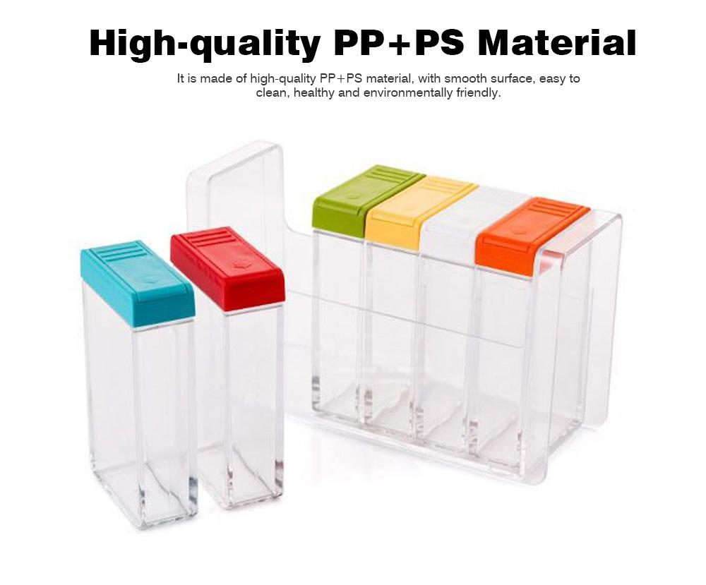 Transparent Plastic Seasoning Box, Six-Piece Set of Seasoning Bottle for Placing Salt, Sugar, Pepper 1