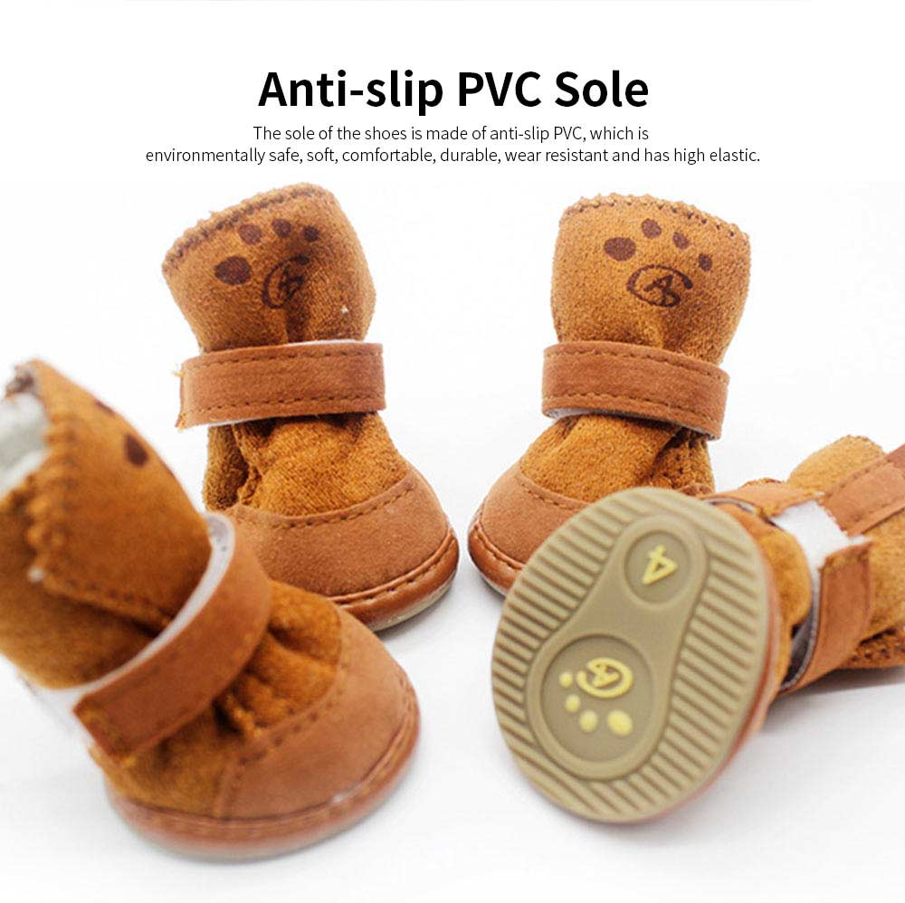 Cute Lamp Dress Up Puppy Shoes Apparel Pet Boots, Autumn and Winter Snow Warm Pet Boots with Magic Tape 3