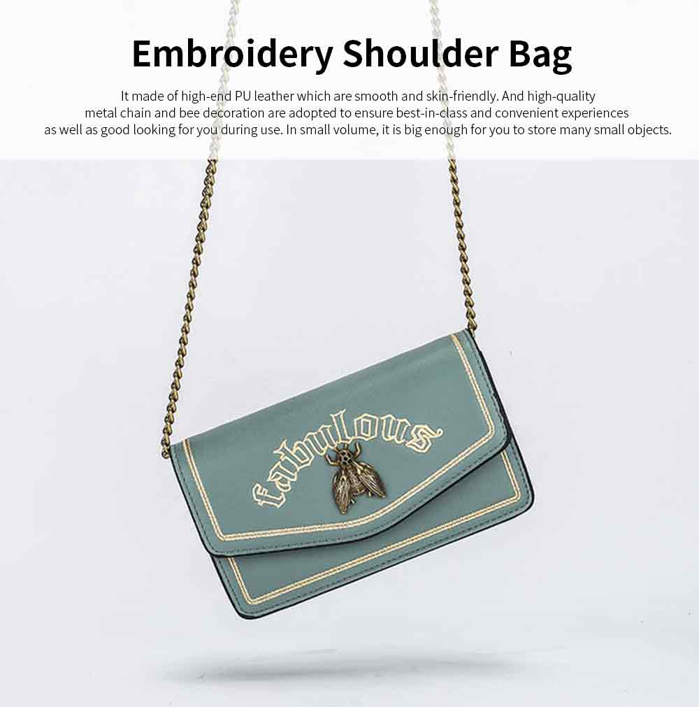 Vintage Embroidery Small Women Bag with Metal Bee Decoration, Ladies Shoulder Bag Clutch Handbag with Metal Chain 0