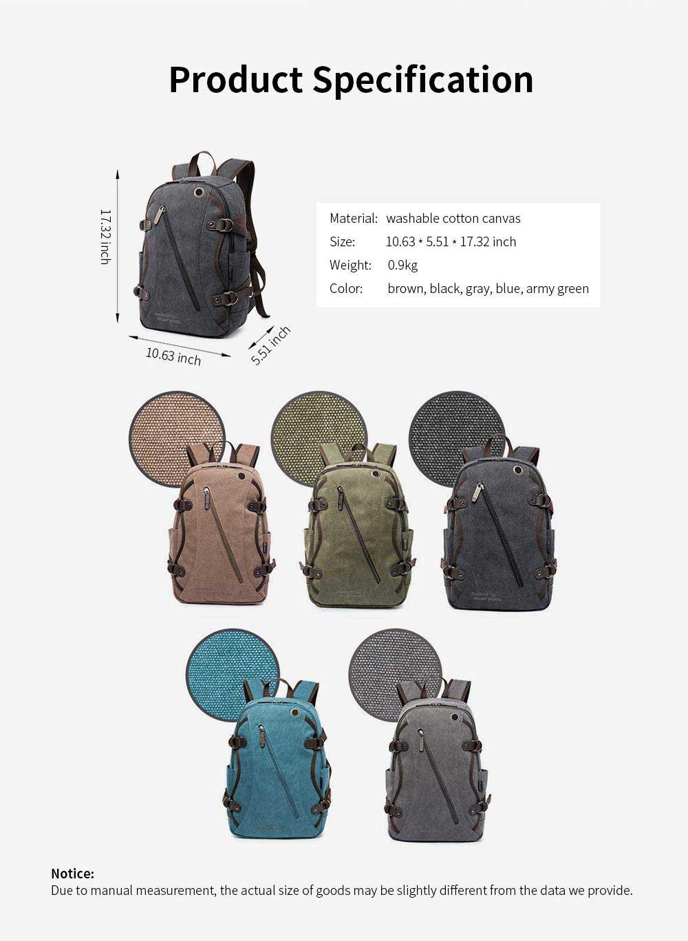 Fashion Vintage Canvas Men Laptop Backpack Messenger Shoulder Bag, Large Capacity Travel Bag Computer Notebook School Bag 8