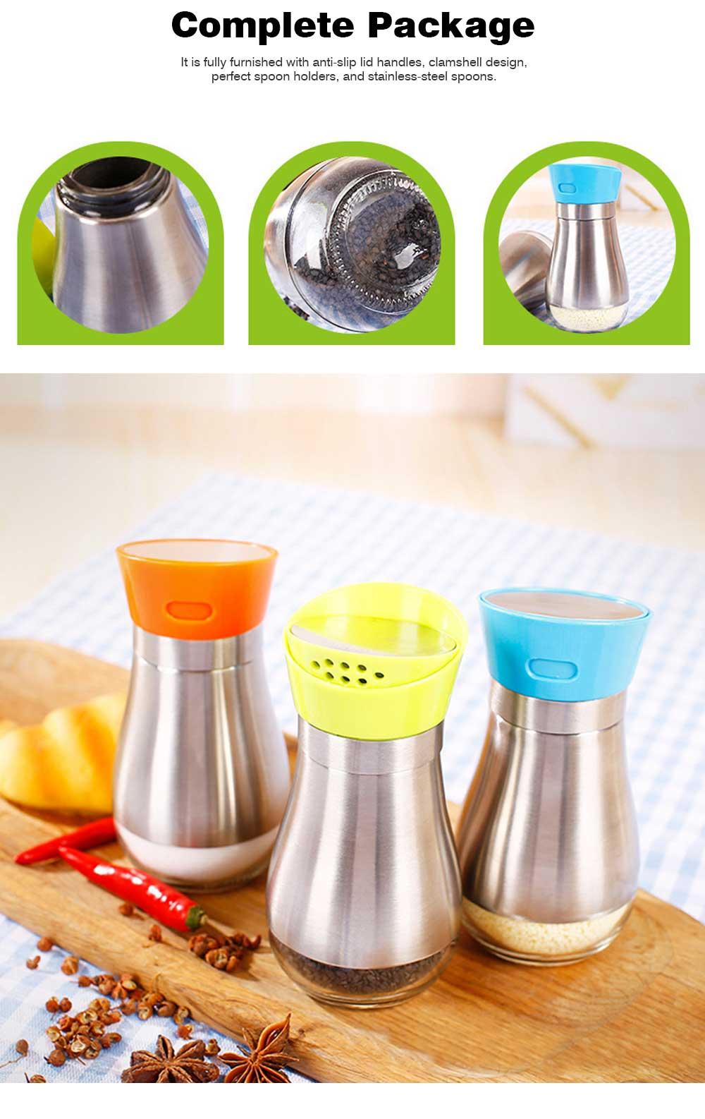 Stainless-steel Sauce Bottle for Putting Pepper, Salt, Chicken Essence, Double-Opening Seasoning Glass Bottle 2