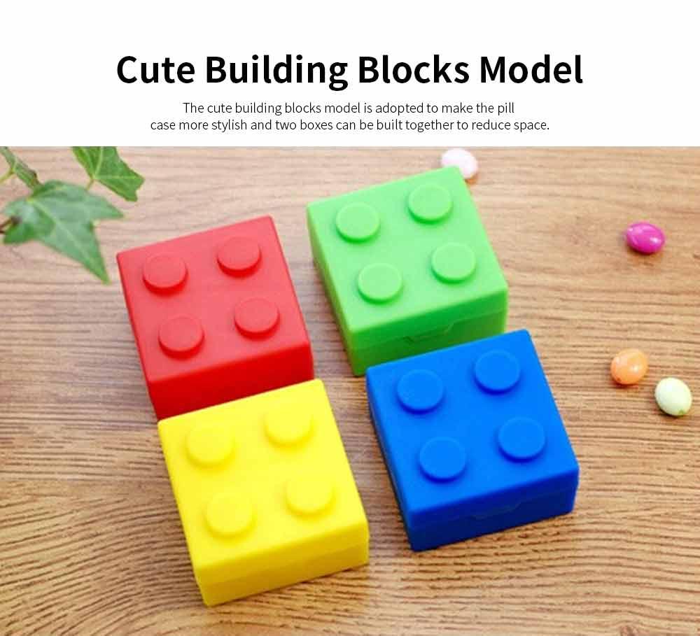 Colorful Building Blocks Pill Case, Mini Accessories Storage Box Cute Tablet Pill Medicine Organizer Container 5