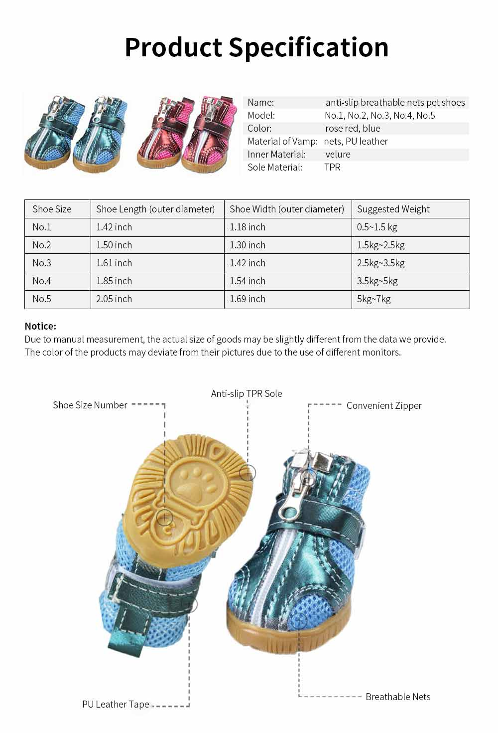 Fashion Nets Villus Dog Shoes Pet Boots for Small Dogs, Breathable Pet Boots with Durable Gum Outsole 6
