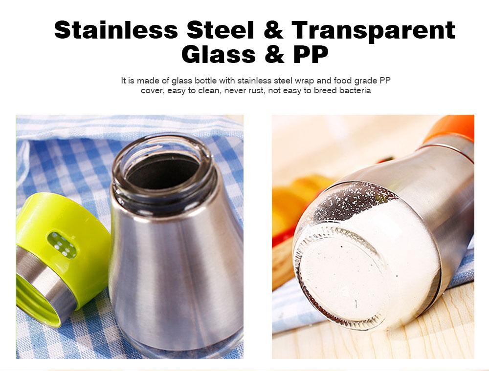 Stainless-steel Sauce Bottle for Putting Pepper, Salt, Chicken Essence, Double-Opening Seasoning Glass Bottle 5