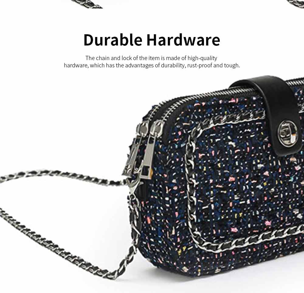 Delicate Paillette Twill Corduroy Mini Quilted Chain Shoulder Bag, Fashion Double-deck Dark Blue Crossbody Handbag 2
