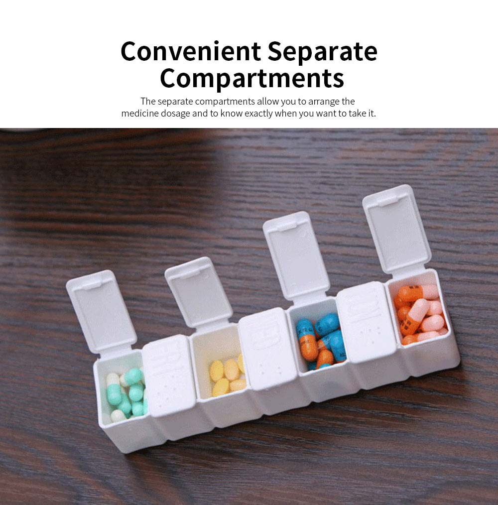 Portable 7 Compartment Dispenser Flip Pill Case, Weekly Tablet Medicine Organizer Container with Intimate Braille Design 3