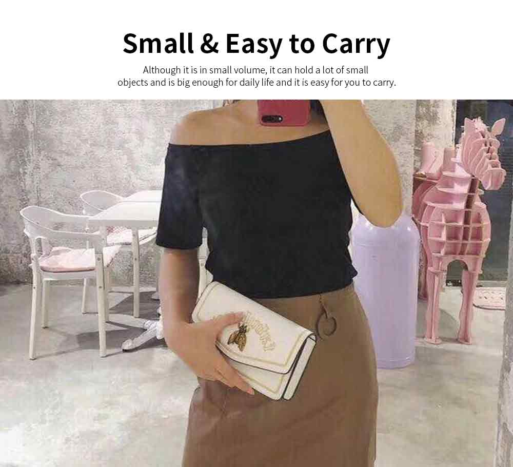 Vintage Embroidery Small Women Bag with Metal Bee Decoration, Ladies Shoulder Bag Clutch Handbag with Metal Chain 4