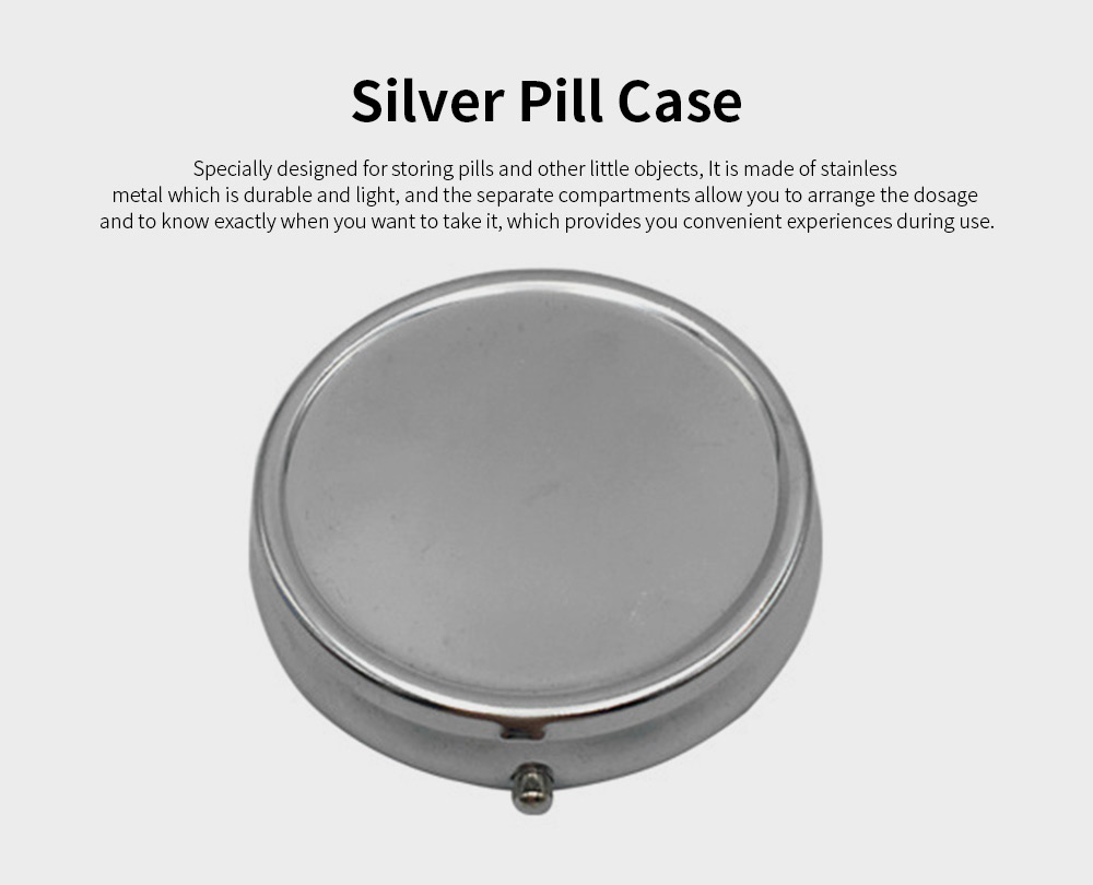 Portable Stainless Iron Pill Case, Silver Tablet Pill Medicine Organizer Container with Mirror, 3 Compartments 0