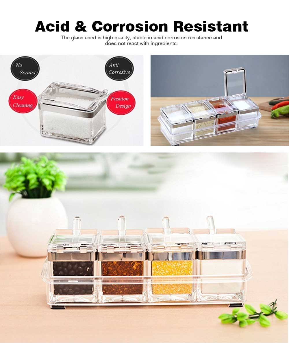 High-grade Acrylic Seasoning Jar Set with a Large Diameter, Creative Stainless-steel Seasoning Box Set for Home, Restaurant, Hotel 6