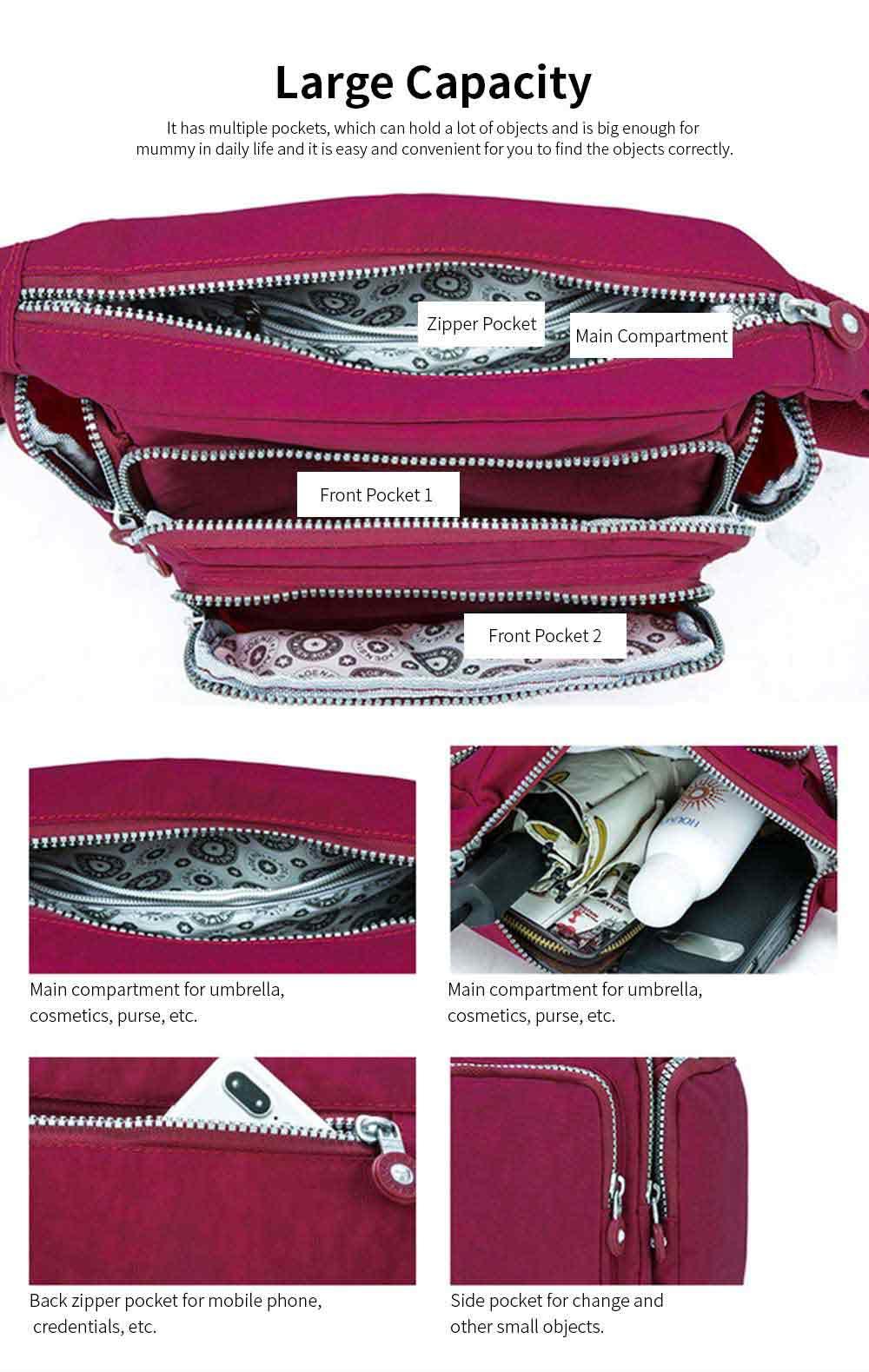 Waterproof High Density Nylon Mummy Shoulder Bag, Large Capacity Multiple Pockets Messenger Cross Body Hand Bag 4