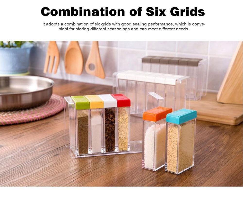 Transparent Plastic Seasoning Box, Six-Piece Set of Seasoning Bottle for Placing Salt, Sugar, Pepper 2