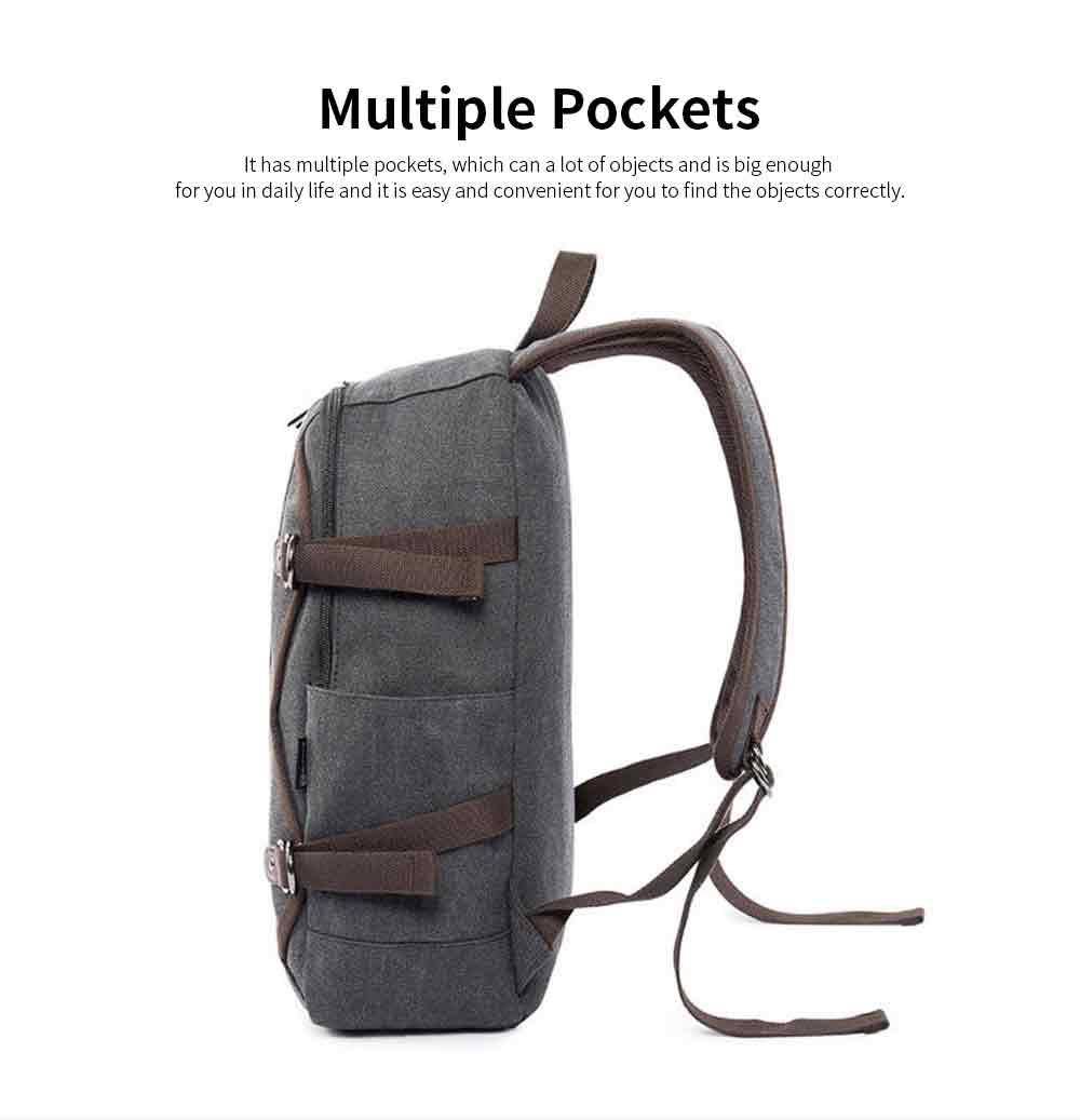 Fashion Vintage Canvas Men Laptop Backpack Messenger Shoulder Bag, Large Capacity Travel Bag Computer Notebook School Bag 5