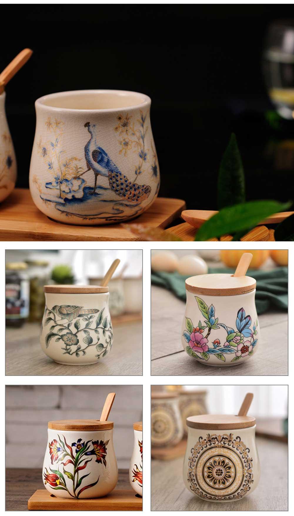 Three-piece Ceramic Seasoning Jar Set, Bamboo and Wood Ceramic Seasoning Bottle Set, with Wood Bracket 7