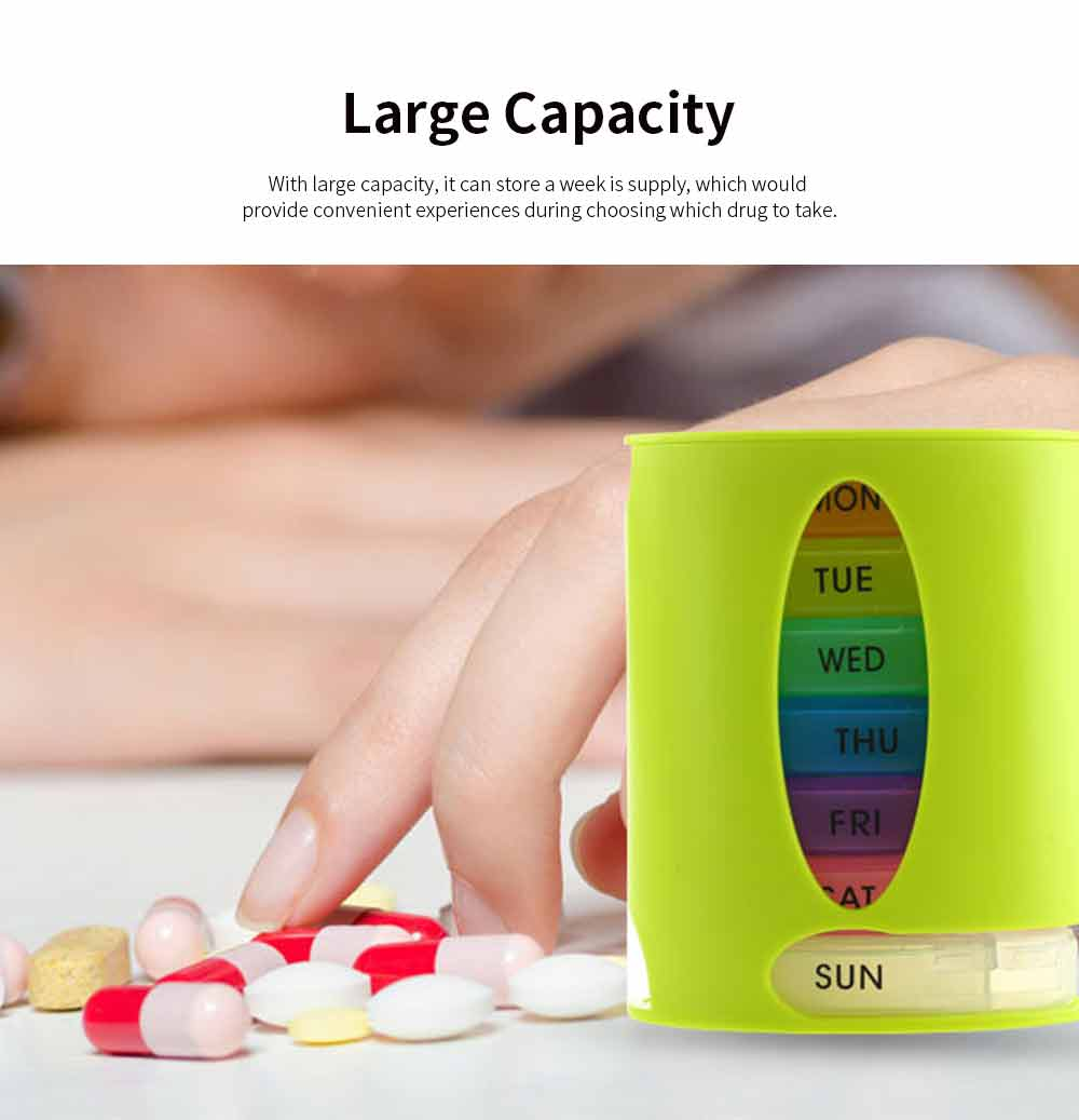 Weekly Pill Organizer 4 Times A Day, Colorful Oval-shaped Monthly 28 Compartment Stainless Pill Case 2