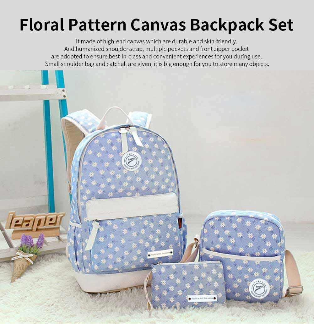 Floral Pattern Breathable Canvas Casual Students Backpack Sets, Fashion 3 PCS Laptop Bag Travel Bag with Small shoulder Bag 0