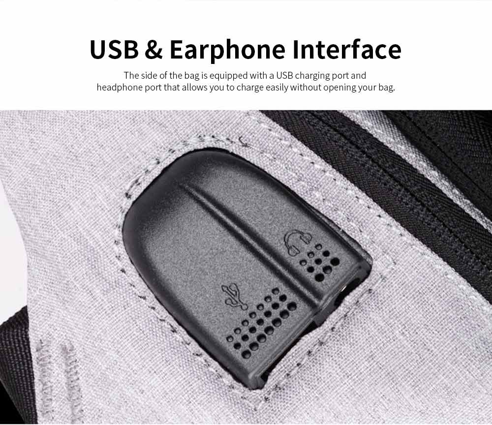 Business Waterproof Scratch-proof Oxford Cloth Casual Man Backpack, Anti-theft Shoulder Bag with USB Charging 3