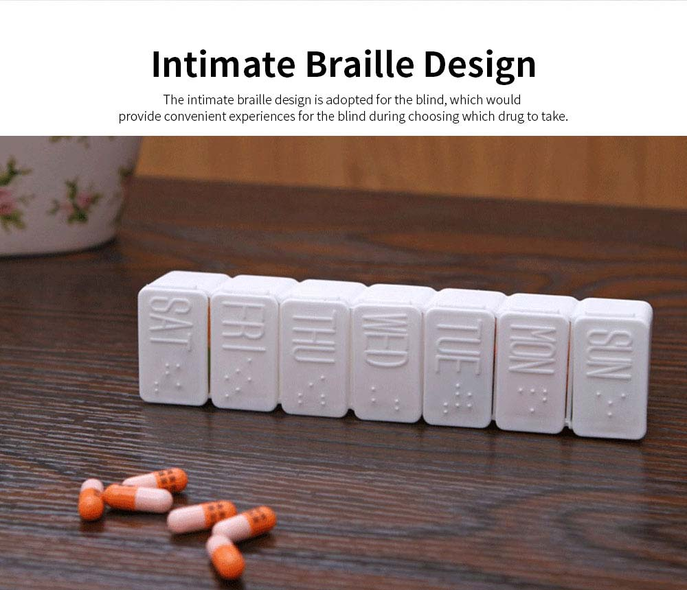 Portable 7 Compartment Dispenser Flip Pill Case, Weekly Tablet Medicine Organizer Container with Intimate Braille Design 2
