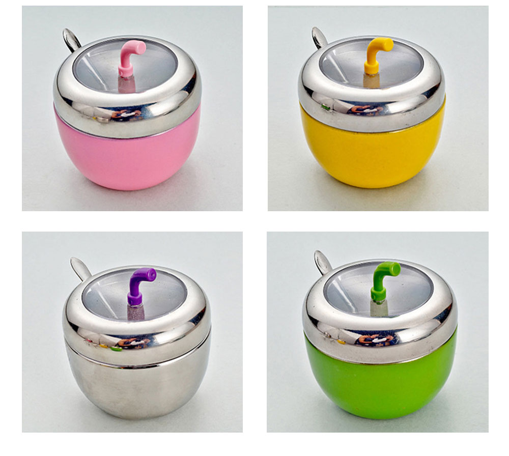 Stainless-steel Apple Shape Seasoning Jar, Paint Creative Seasoning Tank with Stainless Steel Spoon 6
