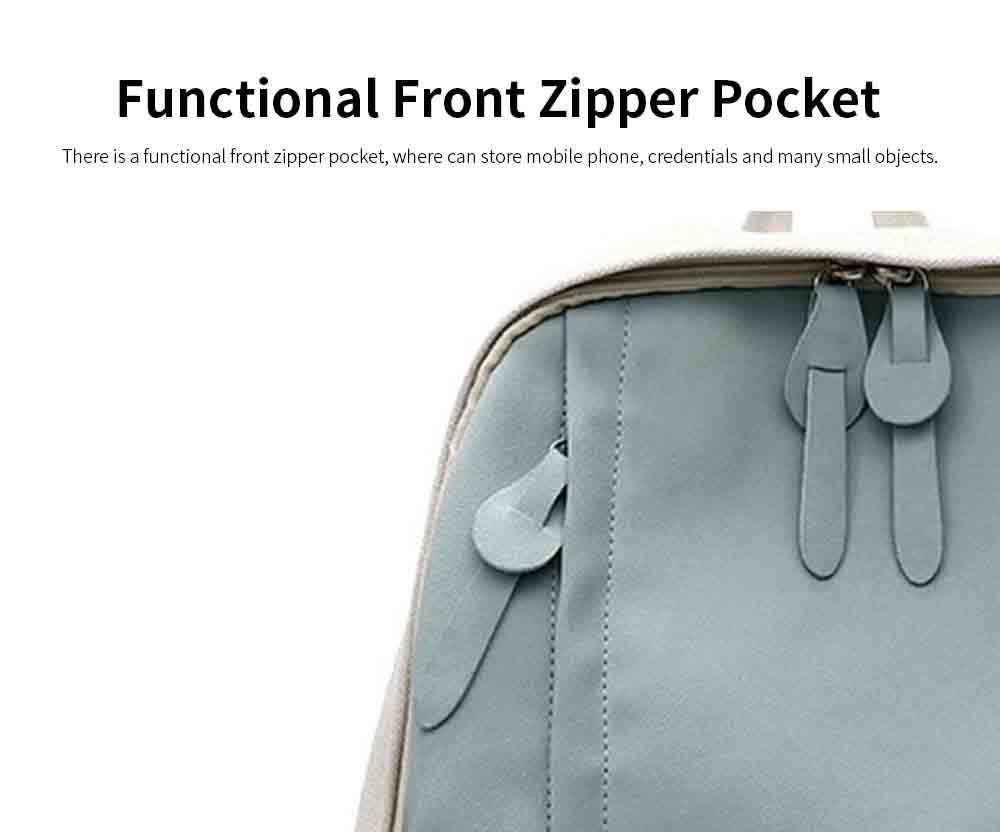Fashion Contrast Colors Canvas Casual Backpack, Large Capacity Laptop Bag Travelling Backpack with Functional Front Pocket 5