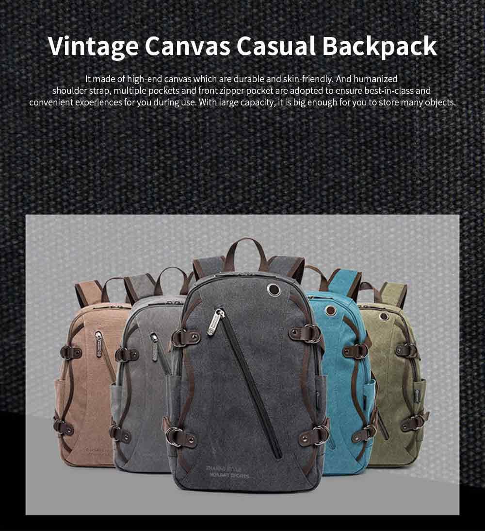 Fashion Vintage Canvas Men Laptop Backpack Messenger Shoulder Bag, Large Capacity Travel Bag Computer Notebook School Bag 0