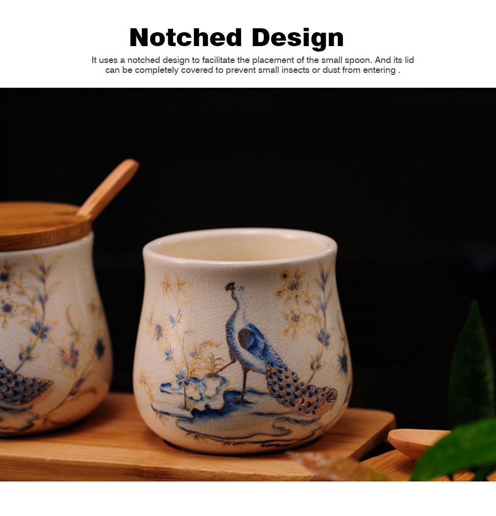 Three-piece Ceramic Seasoning Jar Set, Bamboo and Wood Ceramic Seasoning Bottle Set, with Wood Bracket 3