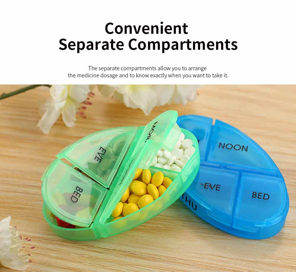 Weekly Pill Organizer 4 Times A Day, Colorful Oval-shaped Monthly 28 Compartment Stainless Pill Case 3