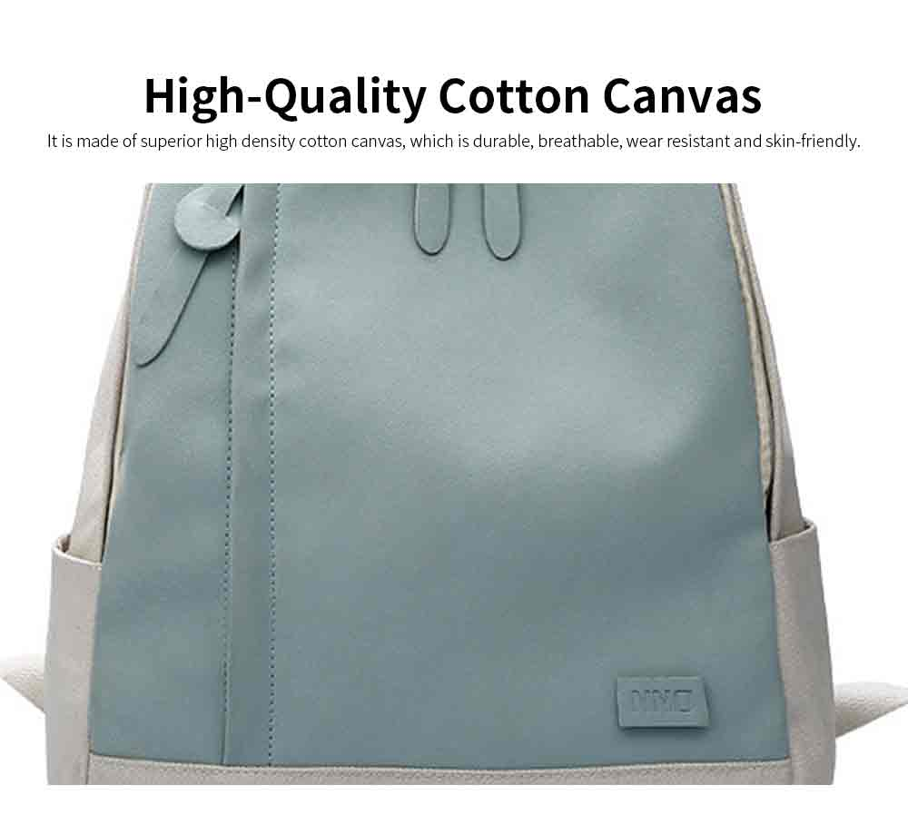 Fashion Contrast Colors Canvas Casual Backpack, Large Capacity Laptop Bag Travelling Backpack with Functional Front Pocket 1