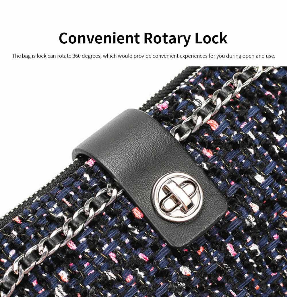 Delicate Paillette Twill Corduroy Mini Quilted Chain Shoulder Bag, Fashion Double-deck Dark Blue Crossbody Handbag 7
