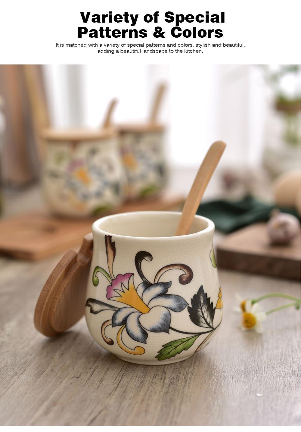 Three-piece Ceramic Seasoning Jar Set, Bamboo and Wood Ceramic Seasoning Bottle Set, with Wood Bracket 6