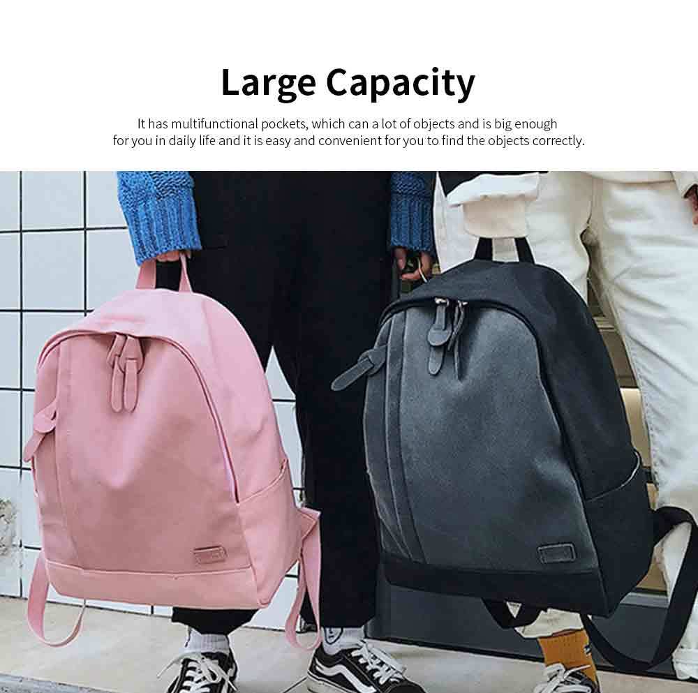 Fashion Contrast Colors Canvas Casual Backpack, Large Capacity Laptop Bag Travelling Backpack with Functional Front Pocket 4