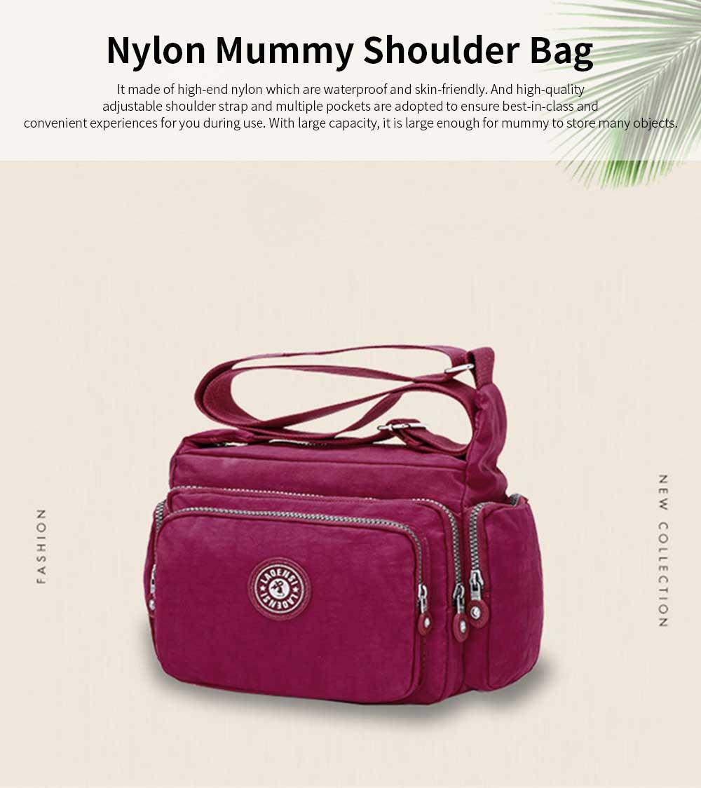 Waterproof High Density Nylon Mummy Shoulder Bag, Large Capacity Multiple Pockets Messenger Cross Body Hand Bag 0