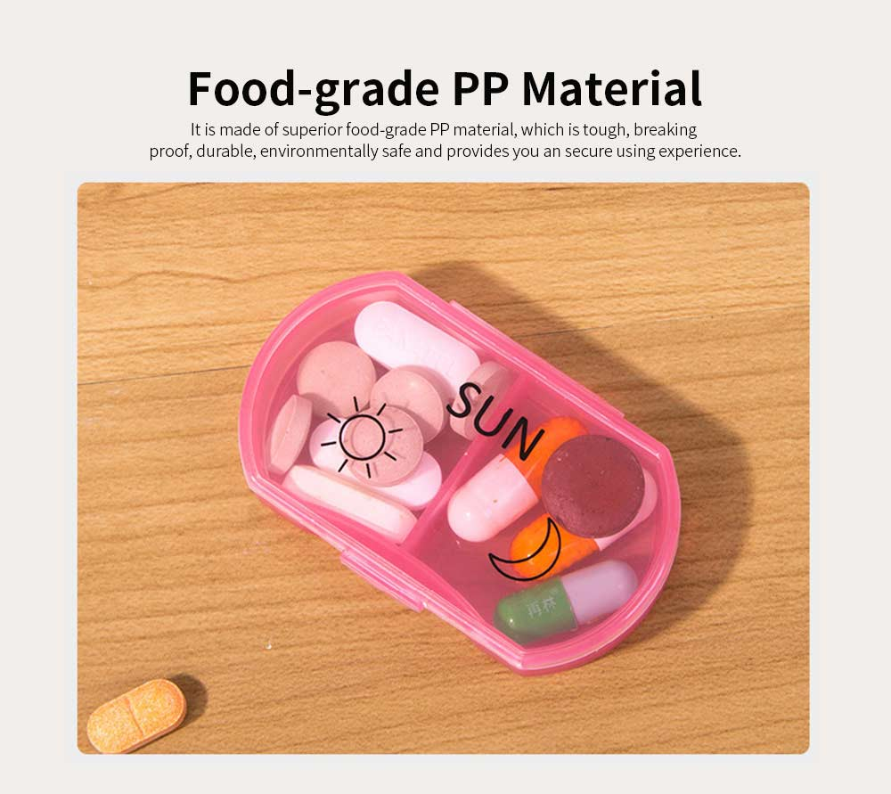 Colorful Weekly Separate Compartment Stainless Pill Case, Food-grade Plastic Medicine Drug Jewelry Storage Box with Delicate Sign 1