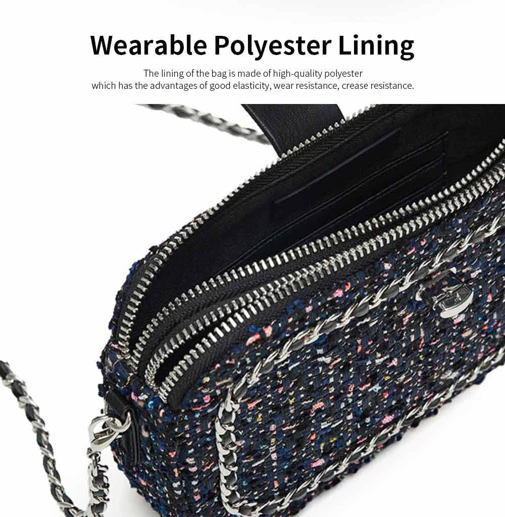 Delicate Paillette Twill Corduroy Mini Quilted Chain Shoulder Bag, Fashion Double-deck Dark Blue Crossbody Handbag 3