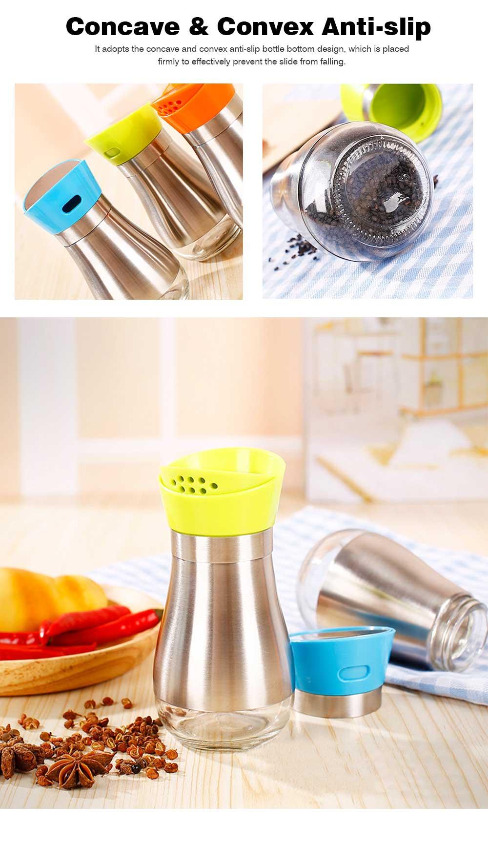 Stainless-steel Sauce Bottle for Putting Pepper, Salt, Chicken Essence, Double-Opening Seasoning Glass Bottle 4