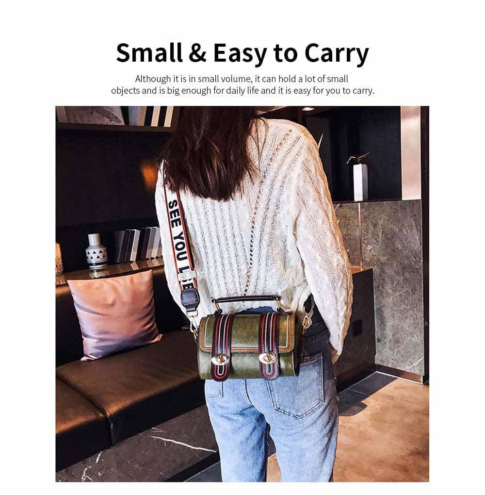 Embroidery Thread Boston Small Bag, Fashion Vintage Minimalist Ladies Shoulder Bag Handbag with Wide Shoulder Strap 4