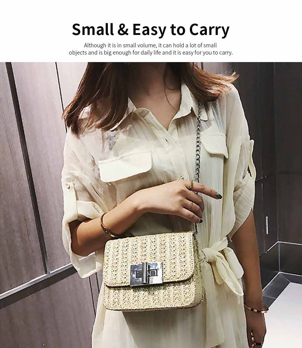 Fashion All-match Straw Weaving Women's Cross Body Shoulder Bag, Small Knit Handbag Satchel Messenger Shopping Purse 11