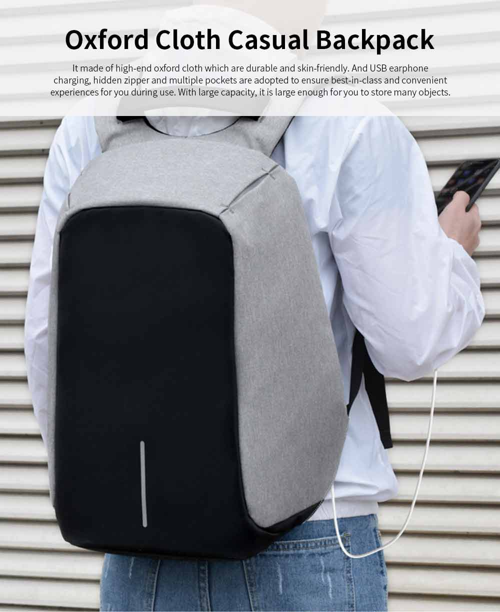 Business Waterproof Scratch-proof Oxford Cloth Casual Man Backpack, Anti-theft Shoulder Bag with USB Charging 0